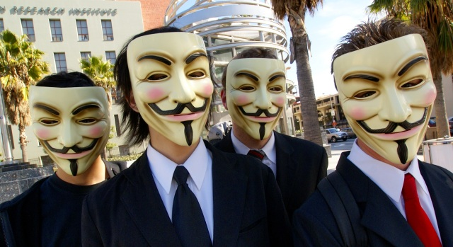 Anonymous group wear Alan Moore's V mask