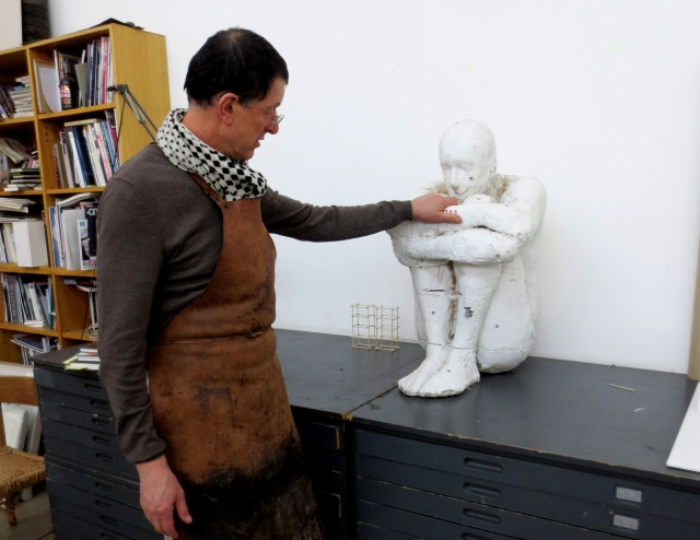 Antony Gormley looking at a maquette