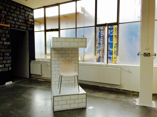 Josh Wright, BA (Hons) Sculpture, State of Being (2016) ceramic tiles, grout, MDF and Cloud Chair (2016) ceramic, chair
